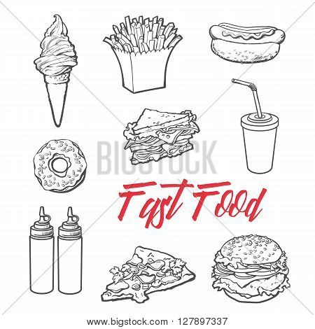 set fast food meal, sketch hand-drawn elements of fast food, ice cream burger, sandwich, soda lemonade, ponchos, pizza hot dog french fries, sauces, ketchup and mustard, fast food ready icons