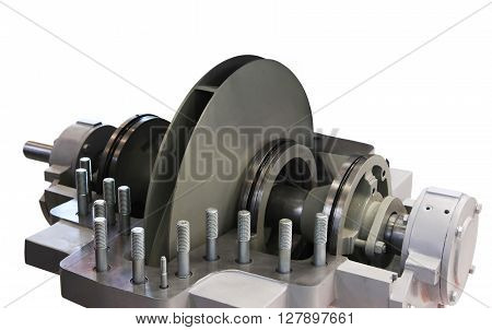 Centrifugal pump with open top lid. Isolated on white background