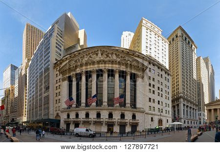 NEW YORK CITY, USA -  AUGUST 2016: The New York Stock Exchange on Wall Street is the largest stock exchange in the world.