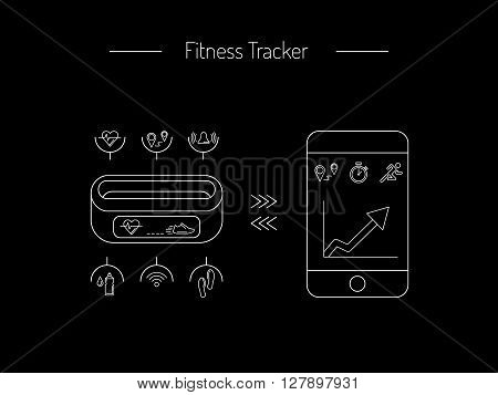 Illustration fitness bracelet. Fitness tracker pedometer. Fitness tracker with alarm function. Sync fitness tracker and smart phone. Fitness tracker with heart rate monitor function. Linear style.
