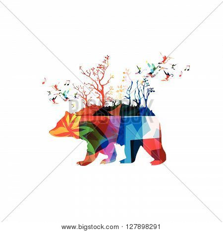 Vector illustration of colorful bear with hummingbirds