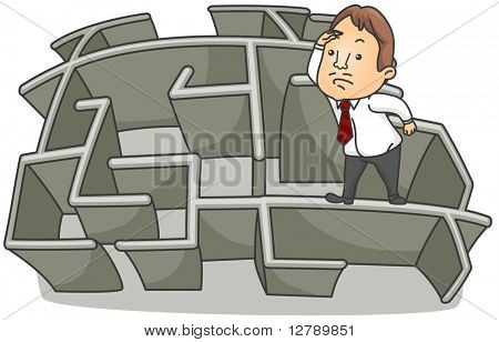 Illustration of a Businessman Looking Over on top of a Wall of a Maze