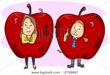 Illustration of Employees as Rotting Apples