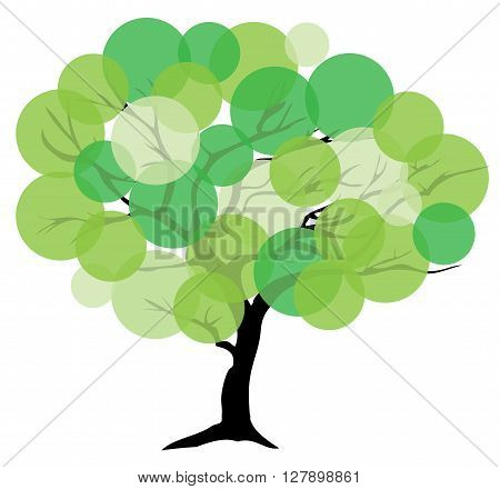 vector illustration of an abstract tree with green circles