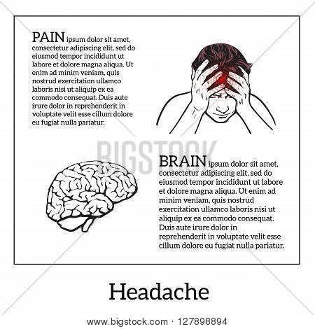 Picture a woman with a headache, brain vector illustration sketch of a woman who holds his hand to his head, pain in the head of a woman, the concept of sickness or disease in the human head