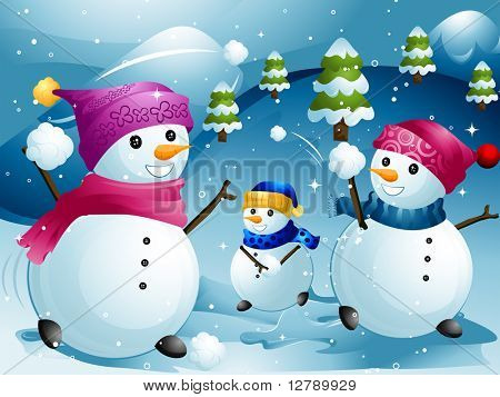 Illustration of Snowmen Having a Snowball Fight