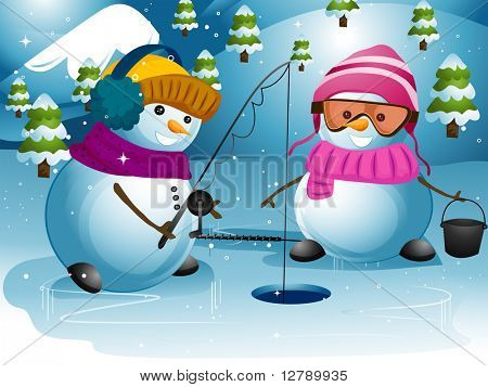 Illustration of Snowmen Waiting for a Fish to Bite Their Bait
