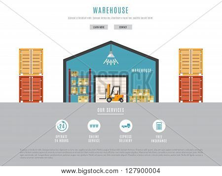 The warehouse work with loading and unloading of cargo. Warehouse complex style flat linear outline. Forklift works in a warehouse.