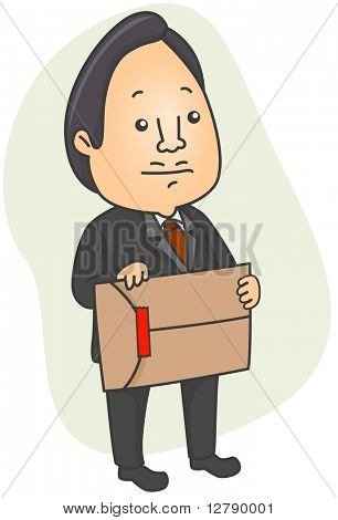 Illustration of a Man Holding an Envelope Sealed with a Red Strip of Tape