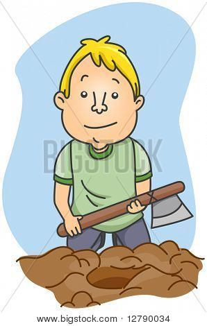 Illustration of a Man Burying a Hatchet