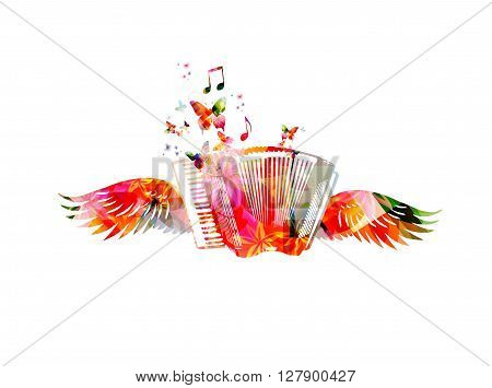Vector illustration of colorful accordion with wings