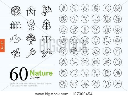 Set of nature icons for web or services. 60 design eco line icons high quality, vector illustration.