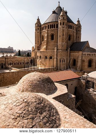 Dormition church and abbey on mount Zion in Jerusalem Israel