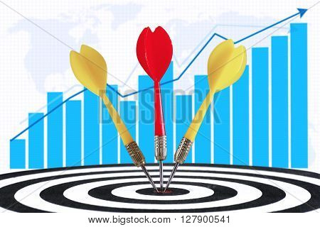 Three darts hitting the middle of dartboard with growth graph background