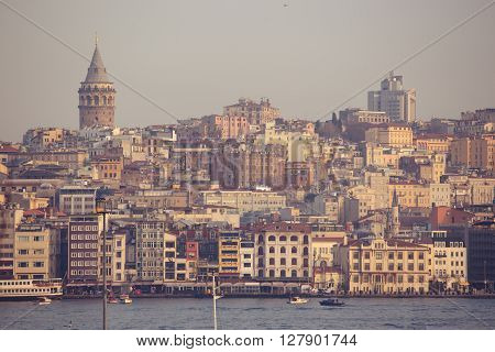 Istanbul panorama skyline with the Galata tower