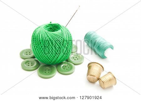 Thimbles, Needles, Buttons And Green Thread