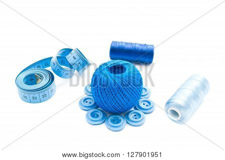 Blue Meter, Plastic Buttons And Thread