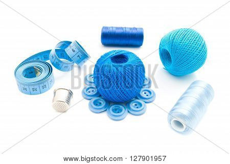 Meter, Thimble, Plastic Buttons And Thread