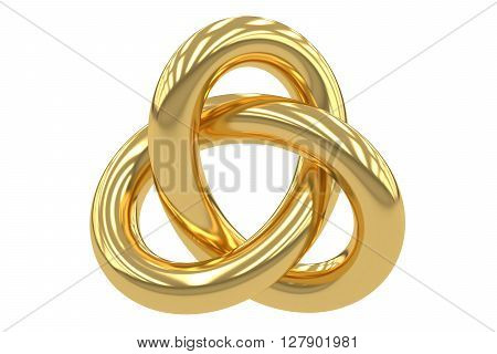 Golden Trefoil Knot 3D rendering isolated on white background