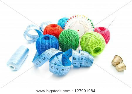 Pins, Thimbles, Blue Meter And Thread