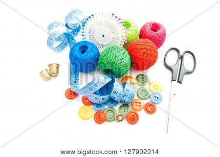 Scissors, Meter, Plastic Buttons, Thimbles And Thread