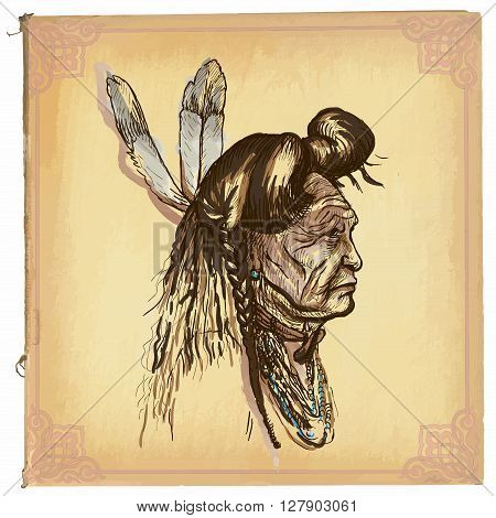 An hand drawn vector illustration colored line art.Native American.Freehand sketch of an North American Indian.Hand drawings are editable in layers and groups.Colored paper background is isolated.