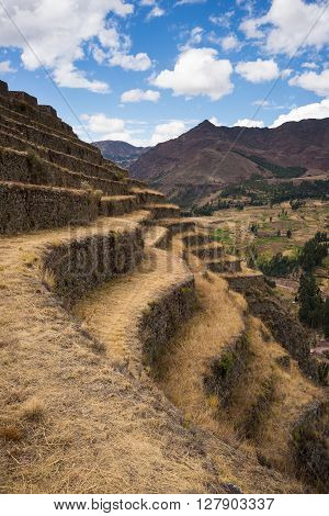 Closeup Of Inca's Terraces In Pisac, Sacred Valley, Peru