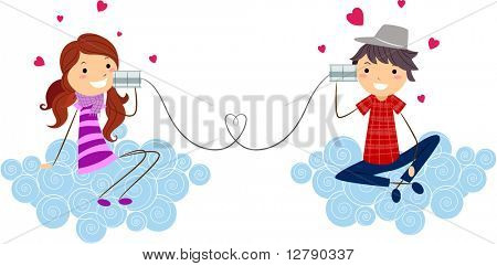 Illustration of a Stick Figure Couple Using Can Phones to Communicate