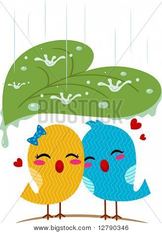 Illustration of Lovebirds Sheltering from the Rain