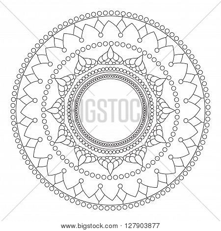 Beautiful detailed mandala. Vintage decorative elements of Mudra. Indian, Hindu motifs