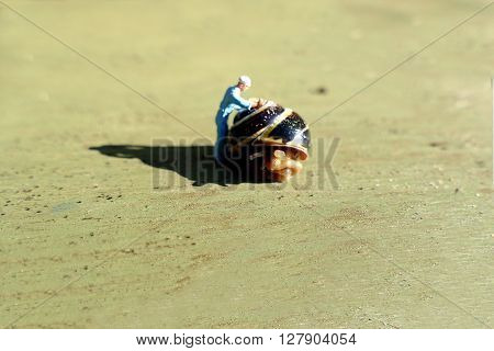 Miniature Workman Cleaning Snail Shell On Sunny Day. Business Concept