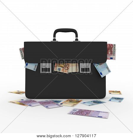 Briefcase Overflowing With Euro Banknotes