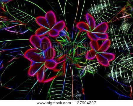 Digital illustration - Red flowers, experimental digital art, frangipani plumeria flower tree, frangipani illustration, tropical garden illustration for digital design, exotic flower in neon light