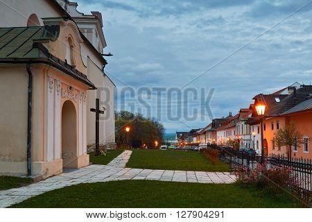 Church in the square of Spisska Sobota, Slovakia.