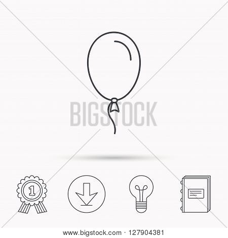 Balloon icon. Party decoration symbol. Inflatable object for celebration sign. Download arrow, lamp, learn book and award medal icons.