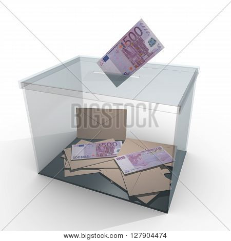 Banknote Vote In Glass Ballot Box
