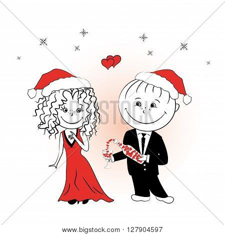 man pours a drink of love girlfriend for Christmas vector