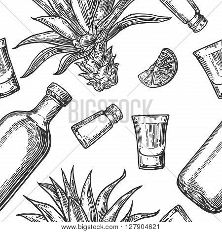 Seamless pattern of glass and botlle tequila salt cactus and lime on white background. Vintage vector engraving illustration for label poster web invitation to party.