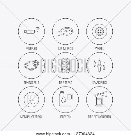 Wheel, car mirror and timing belt icons. Fire extinguisher, jerrycan and manual gearbox linear signs. Muffler, spark plug icons. Linear colored in circle edge icons.