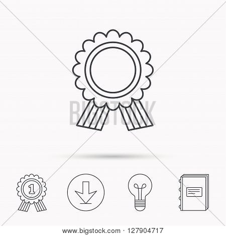 Award medal icon. Winner achievement sign. Download arrow, lamp, learn book and award medal icons.