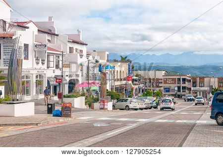 PLETTENBERG BAY SOUTH AFRICA - MARCH 3 2016: A street scene in the central business area of Plettenberg Bay