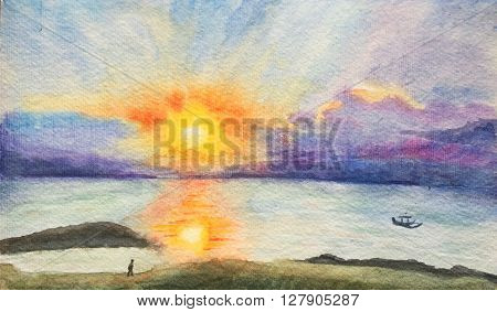 Watercolor hand-painting sunset time on the beach, orange sunset and sea landscape