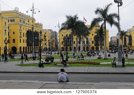 20 November 2010 - Lima Peru. Plaza de Armas and park of the flag in Lima Peru.