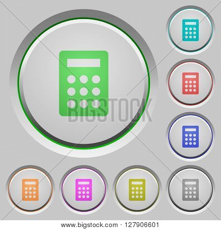 Set of color calculator sunk push buttons.
