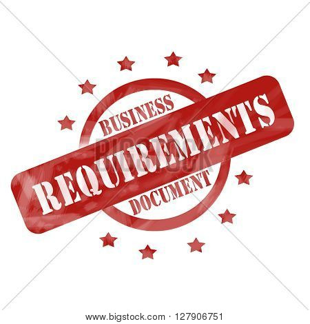 Red Weathered Business Requirements Document Stamp Circle Design