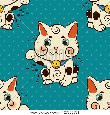 Happy Japanese cat Maneki-neko flowered. Traditional mascot in the style of old school tattoos. Amulet for good wishes, print on t-shirt.Texture for wrapping paper, textile, surface design, fashion.