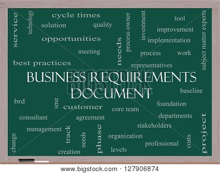 Business Requirements Document Word Cloud Concept On A Blackboard