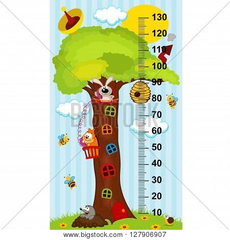 tree house height measure - vector illustration, eps