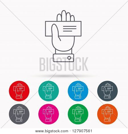 Cheque icon. Giving hand sign. Paying check in palm symbol. Linear icons in circles on white background.