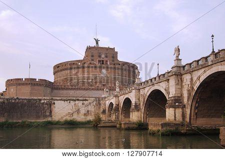 Saint Angel castle on sunset Rome Italy